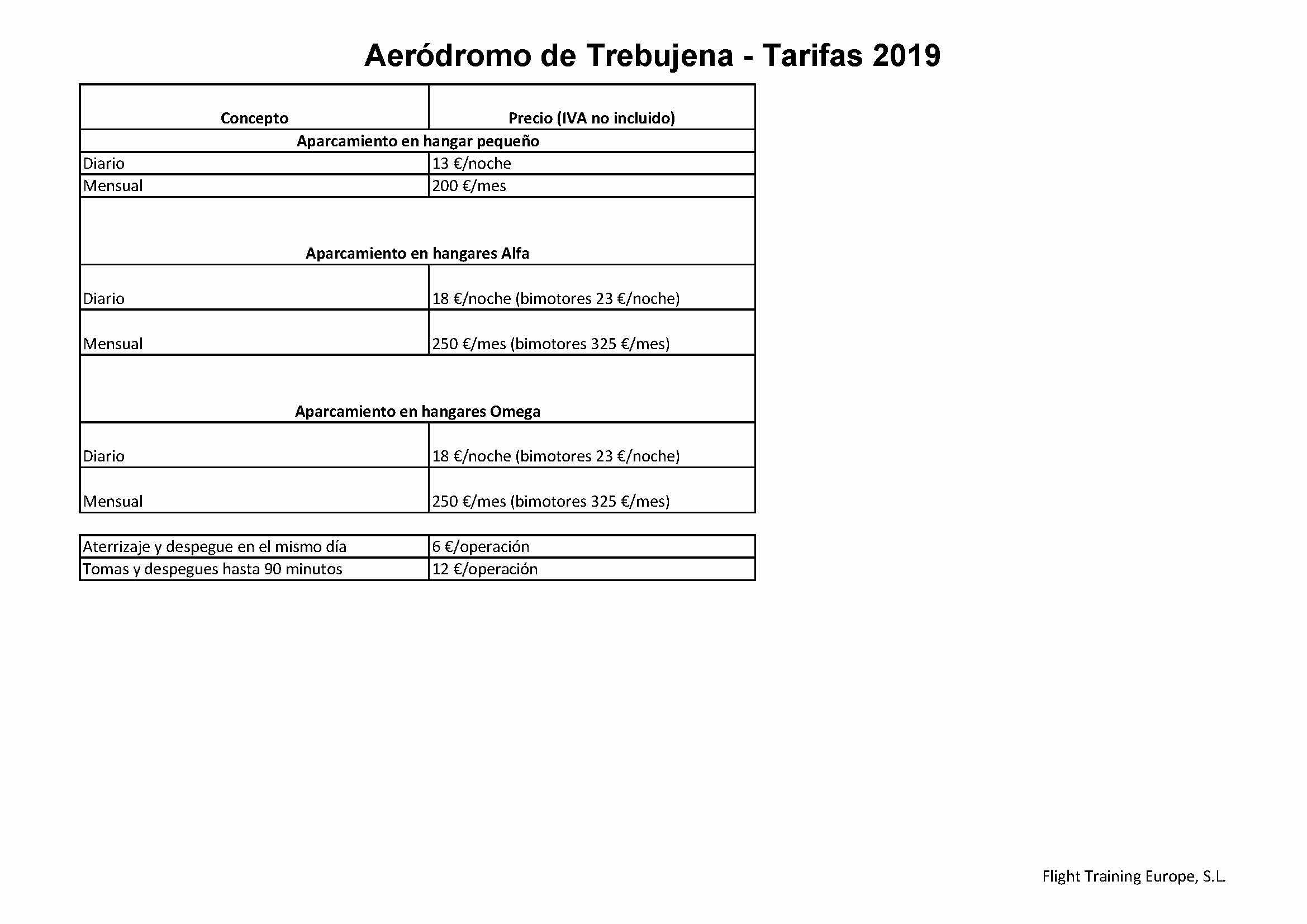 2019 aeródromo Trebujena tarifas