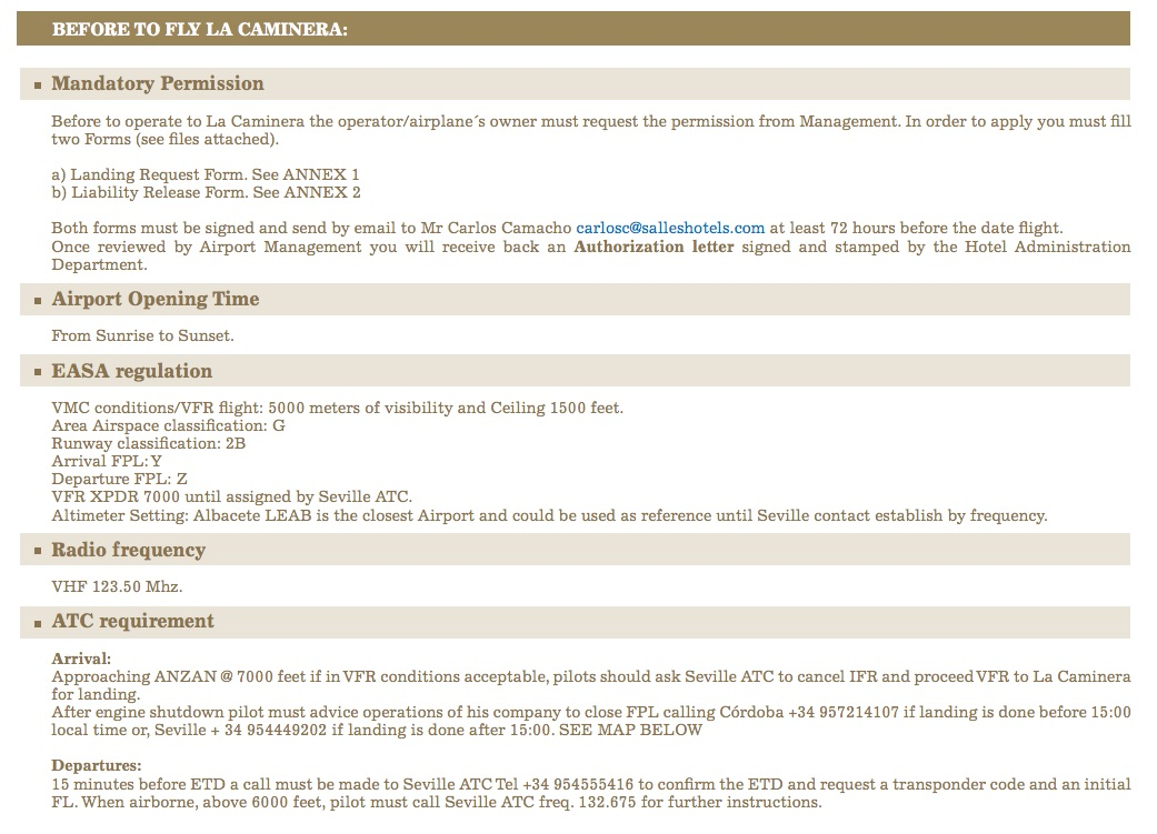 information to landing in la caminera LENE